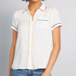 Modcloth Primary Pick Collared Blouse